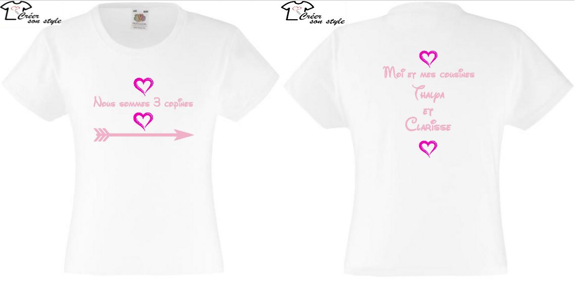 "tee shirt ""nous sommes 3 copines"""