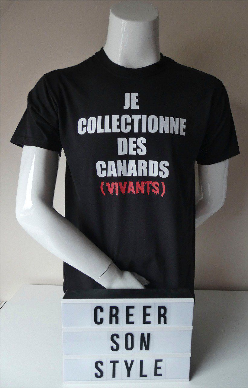 "tee shirt ""je collectionne des canards vivants"""