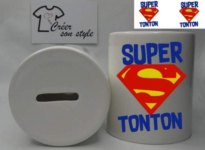 "Tirelire ""super tonton (logo)"""
